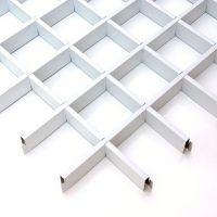 Потолок грильято Cesal Классический Эконом белый 100х100х40 мм